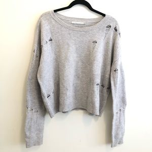 Revolve One Grey Day Distressed Wool Sweater L